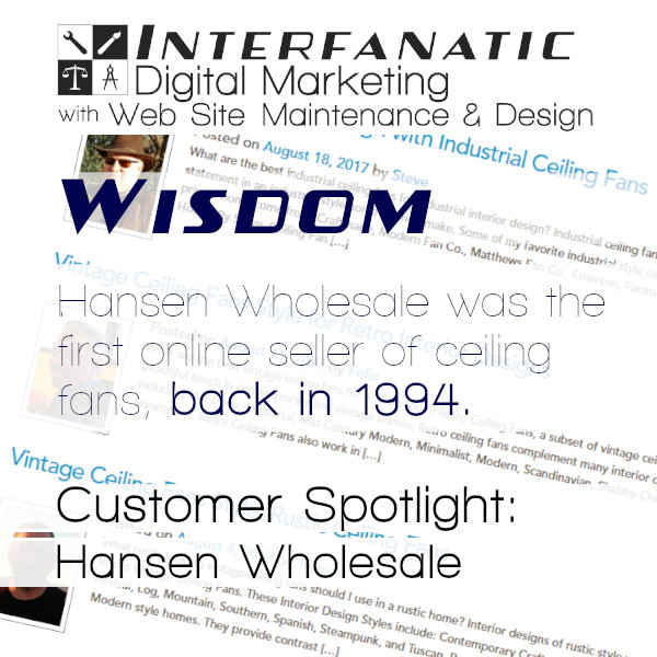 Wisdom: Hansen Wholesale is Interfanatic's Customer Spotlight this Week - Content Marketing and SEO with Press Releases